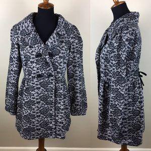 Floral black lace sweatshirt coat size L